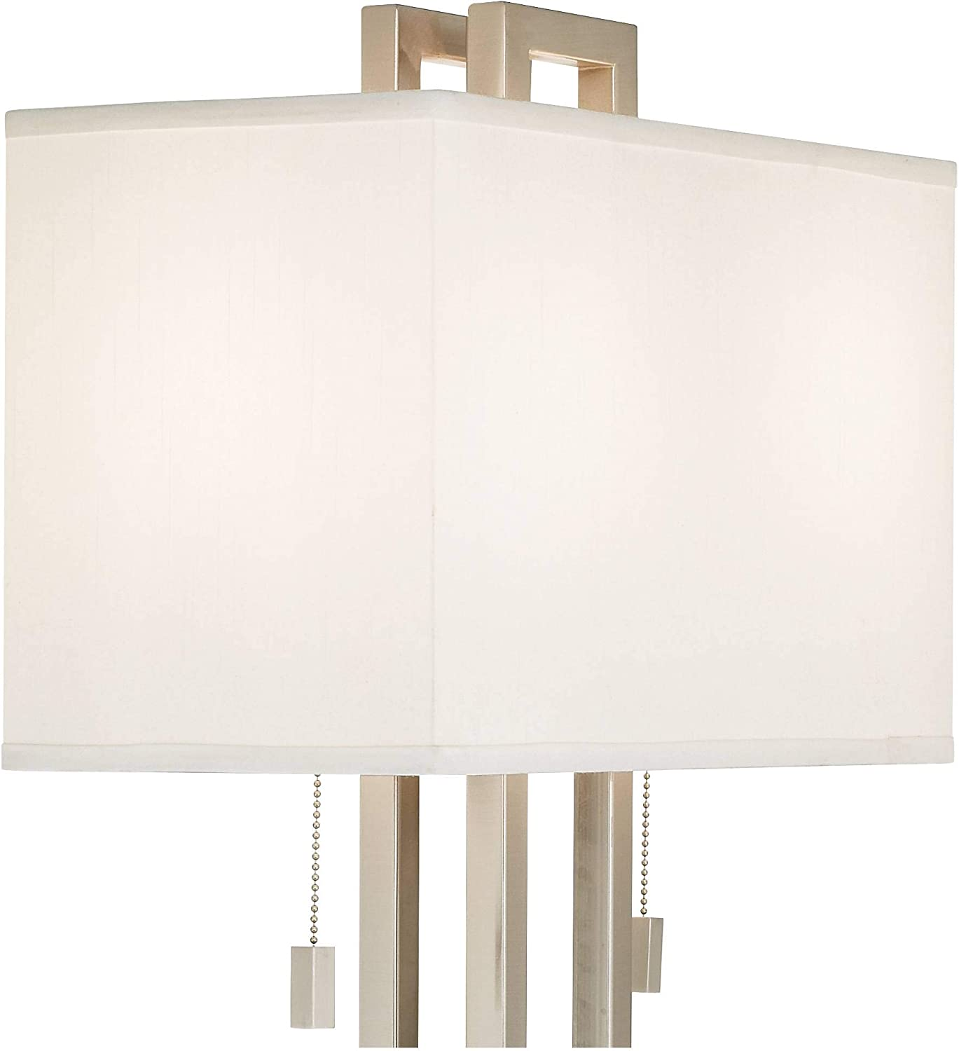 Modern Table Lamp Brushed Nickel Open Rectangle White Shade for Living Room Family Bedroom Bedside Nightstand - Possini Euro Design Brushed Nickel Rectangle