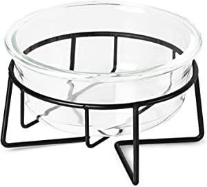 MUZITY Glass Raised Cat Small Dog Dishes, 20 Ounces Pet Food or Water Bowls with Metal Stand, Transparent