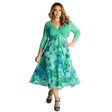 LuckyBB Plus Size Women Floral Printed Long Evening Party Prom Gown Formal Dress (Green,