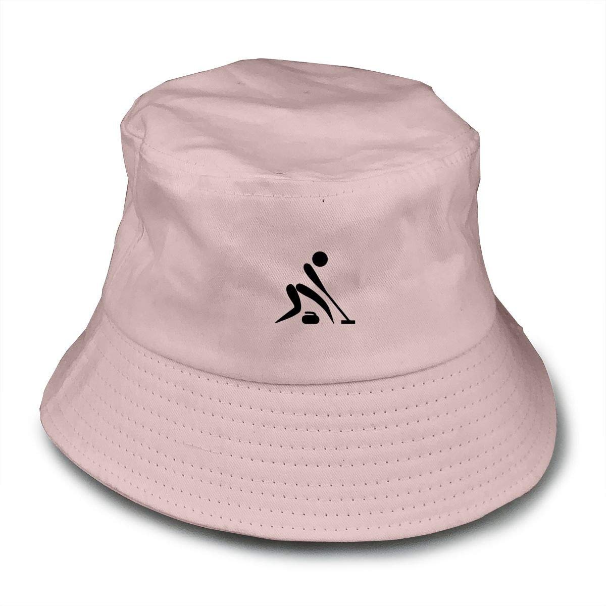 PPAN Curling Unisex Cotton Packable White Travel Bucket Hat Fishing Cap