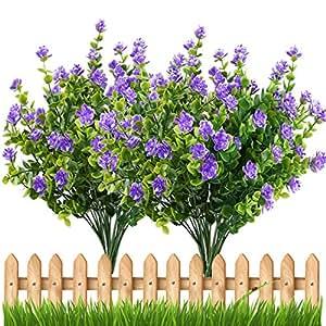 Amazon.com: Artificial Flowers Outdoor UV Resistant Plants Shrubs ...