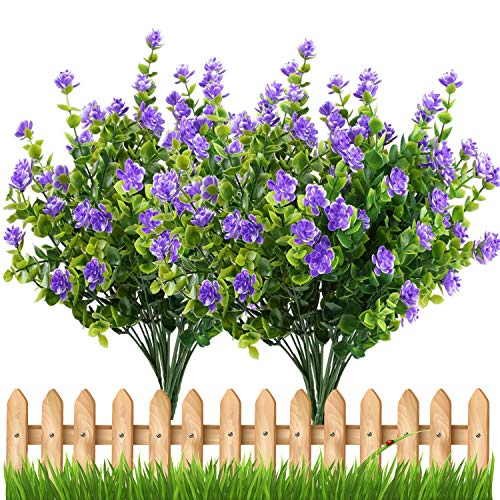 E-HAND Artificial Flowers Outdoor UV Resistant Plants Shrubs Boxwood Plastic Leaves Fake Bushes Greenery for Window Box Home Patio Yard Indoor Garden Light Office Wedding Decor Wholesale-4 Pack ()