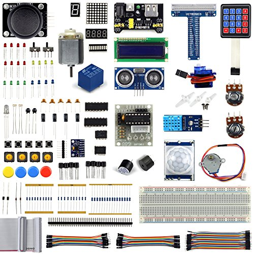 UCTRONICS Ultimate Starter Learning Kit for Raspberry Pi 3 w/Tutorial, ADXL345, GPIO Cable, DC Motor, HC-SR04 Ultrasonic Distance Sensor, LED Displays (205 items) ()