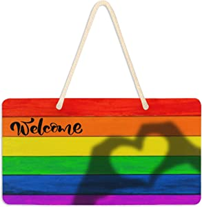 senya Plaque Sign Wall Hanging Welcome Sign Rainbow Gay Peace Pride Heart Love On Wooden Wall Art Front Door Home Decor