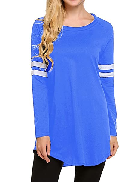 977f13cc50e871 OURS Womens Crewneck Long Sleeve Baseball Long T-Shirt Tunic Tops at Amazon  Women's Clothing store: