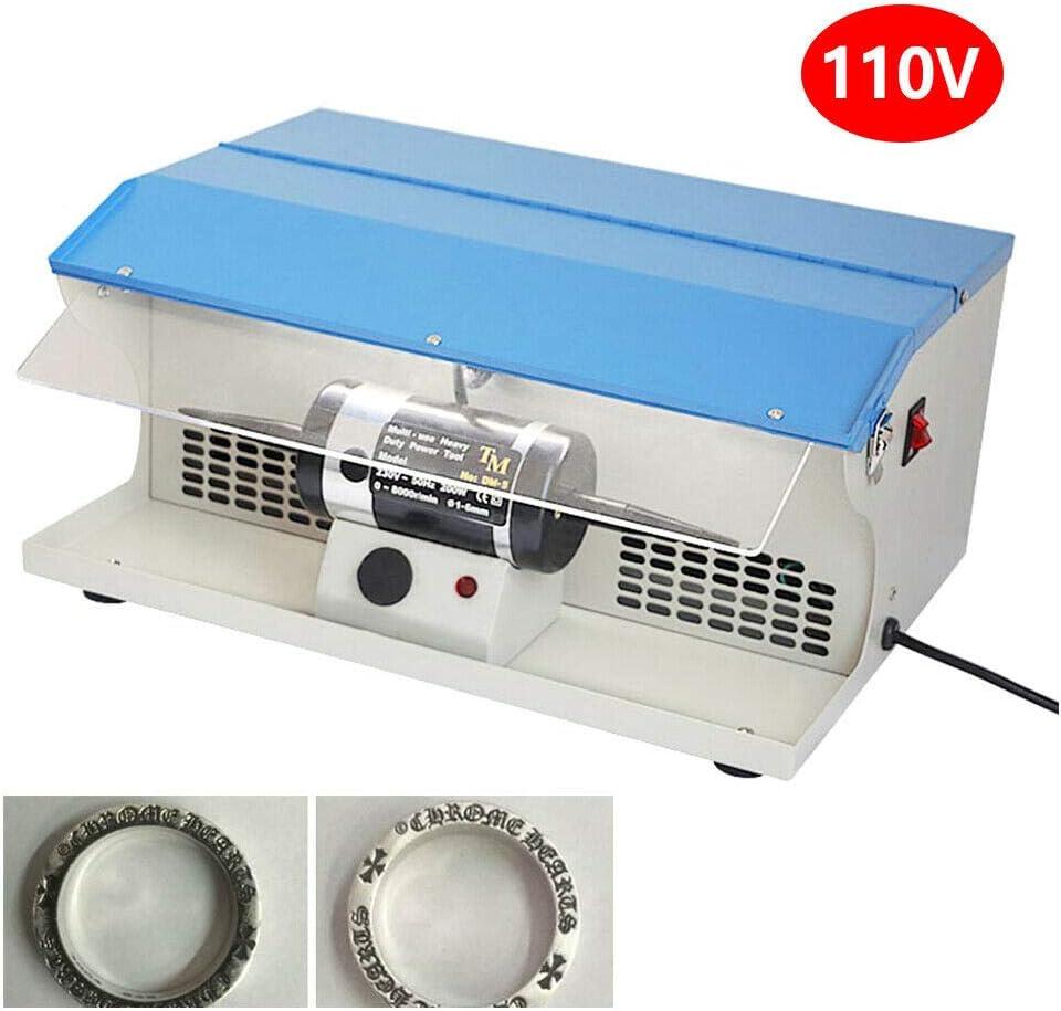 Jewelry Rock Polishing Buffer Machine 200W TableTop Polishing Buffing Machine Dust Collector Light Jewelry Polisher w//Light 0-8000 rpm//min.