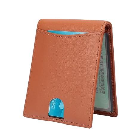 ENKNIGHT RFID Cartera de piel para hombre auténtica - Billetero Tarjetero De Crédito Pequeña y Minimalista