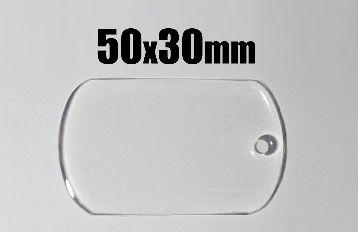 200 Pcs. 50x30mm Dog Tag Epoxy Stickers - Transparent - Self Adhesive