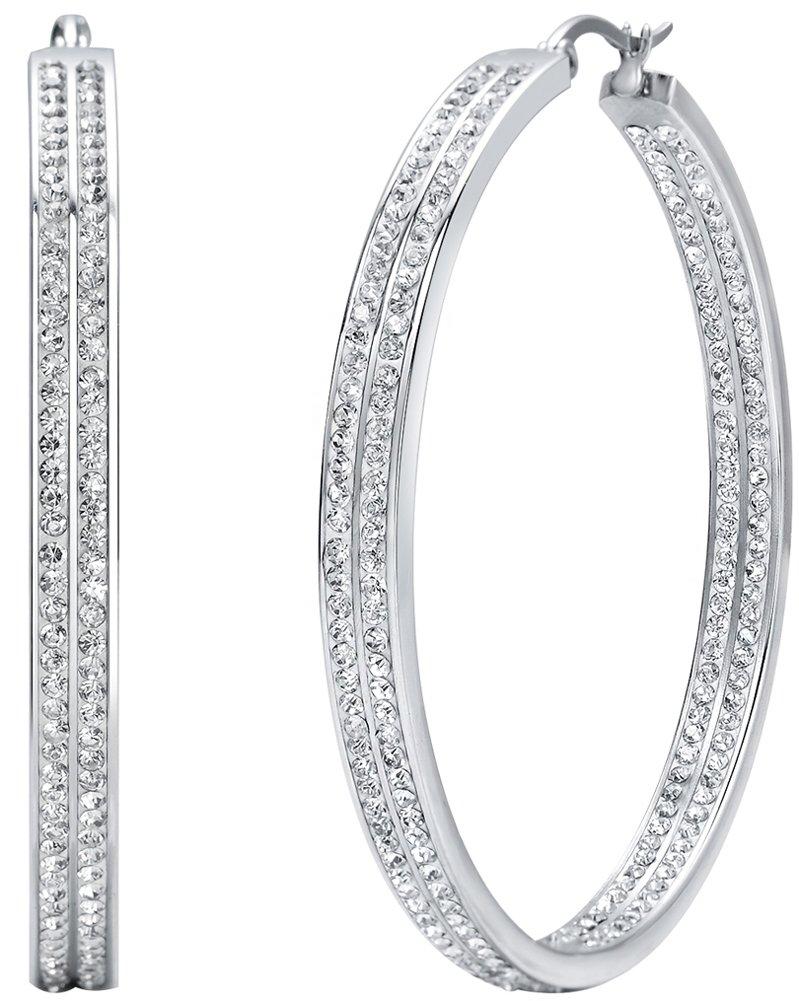 Jstyle Women's Stainless Steel Pierced Large Hoop Earrings with Rhinestone 120912