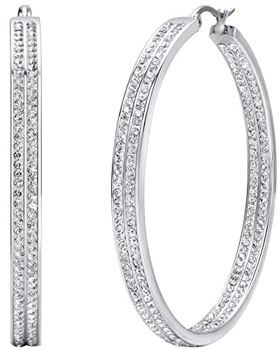 Jstyle Women's Stainless Steel Pierced Large Hoop Earrings with Rhinestone