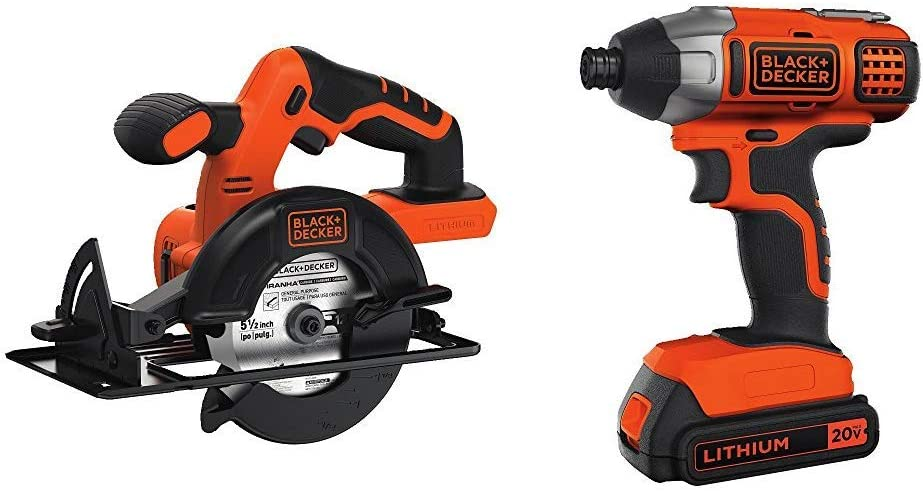 BLACK+DECKER 20V MAX Impact Driver Kit with 5-1/2-Inch Cordless Circular Saw (BDCI20C & BDCCS20B)