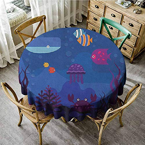 ScottDecor Jacquard Tablecloth Cartoon Underwater World Fish in Aquarium and Whale Crabs Jellyfish Bubbles Coral Blue and Multicolor Pattern Round Tablecloth Diameter 36
