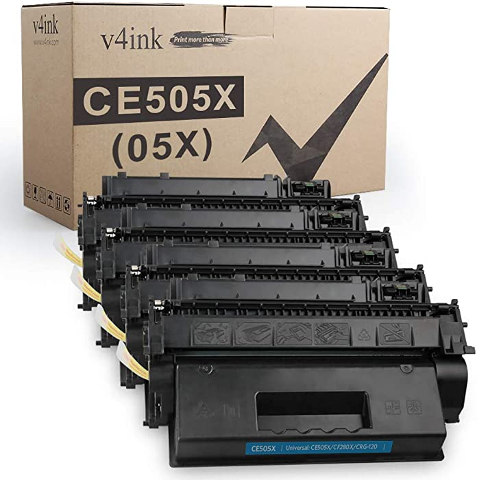 V4INK 4PK Compatible Toner Cartridge Replacement for HP CE505X 05X Toner Cartridge Black for HP Laserjet P2050 P2055 P2055d P2055dn P2055x Pro 400 M401n M401dne M401dw MFP M425dn M425dw Printer