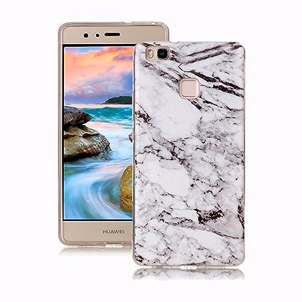 Yunbaoz Funda Compatible para Huawei P9 Lite Mármol, Diseño Mármol Carcasa Suave Goma Silicona Soft Marble Case Suitable for Huawei P9 Lite - Blanco ...