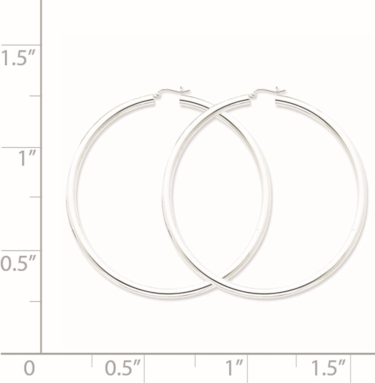 925 Sterling Silver Rhodium-plated Polished Hinged Hoop Earrings 4mm x 82mm