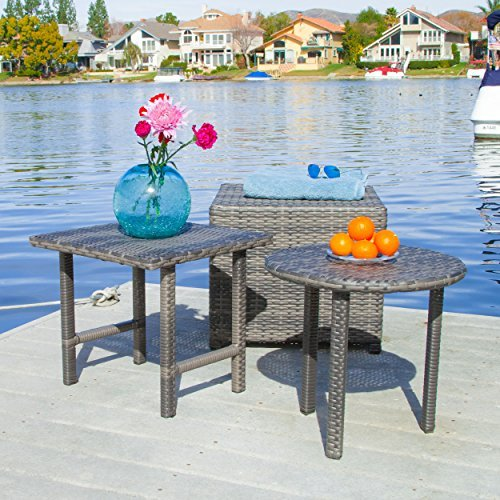 Cheap  Lakeport Patio Furniture Grey 3 Piece Outdoor Wicker Side Table Set