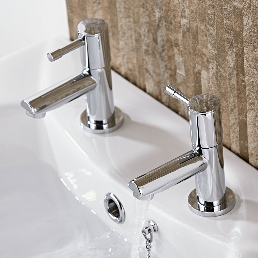 Chrome High Quality 10 year guarantee Premier Bathstore Basin Peg Lever Taps Pair
