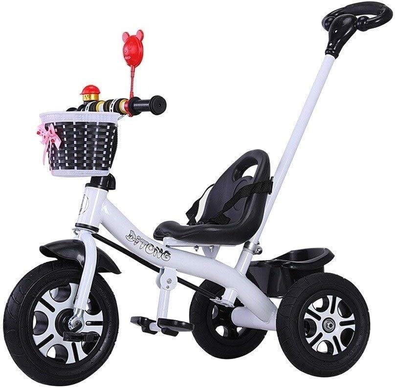 YGB Triciclo de bebé, Triciclo portátil Triciclo clásico con asa extraíble 3 en 1 Adecuado para niños y niñas Triciclo de 2 Colores (Color: Blanco)