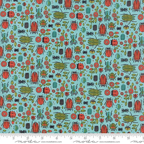 Chrysanthemum Quilt Fabric - United Notions and Moda Fabrics Dear Mum by Robin Pickens Quilt Fabric Bug Party Robin's Egg Style 48623/19