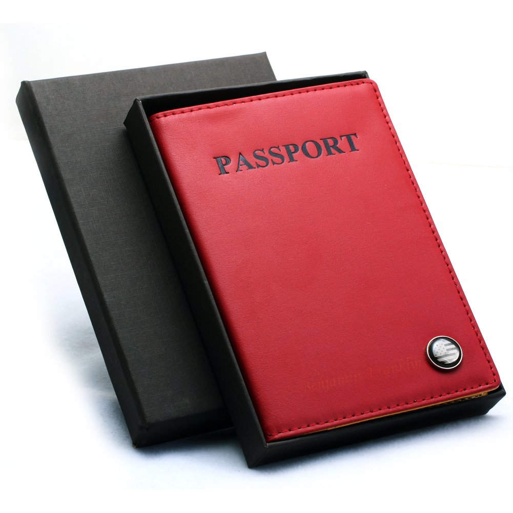 Free Engraving - Genuine Leather U.S Passport Cover - Holder for Mens Women RED, Two Lines Free Customization