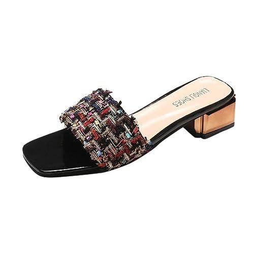 Omiky Frauen Damen Sandalen Mode Sommer Sandalen Slipper Patchwork Mittlere Ferse Hausschuhe