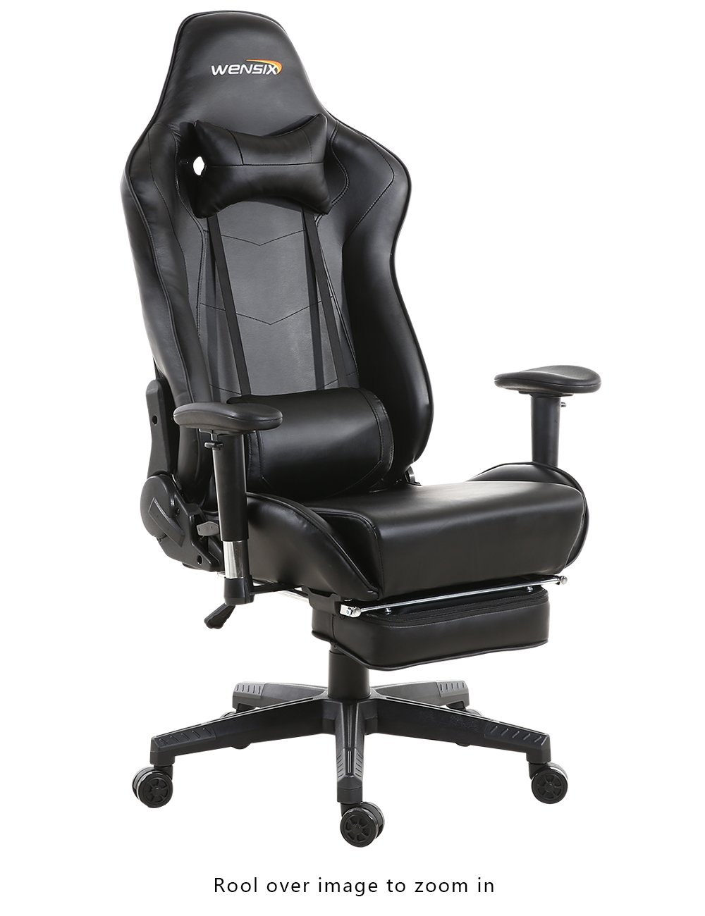 WENSIX Gaming Chair High Back Computer Chair With Adjusting Footrest, Ergonomic designs Extremely Durable PU Leather Steel Frame Racing Chair (Black) by WENSIX