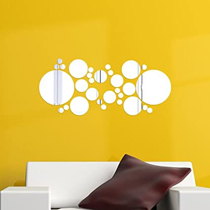 Amazon.com: DIY Mirror Wall Sticker Silver 30 Pcs SOLEDI Wall Decal ...