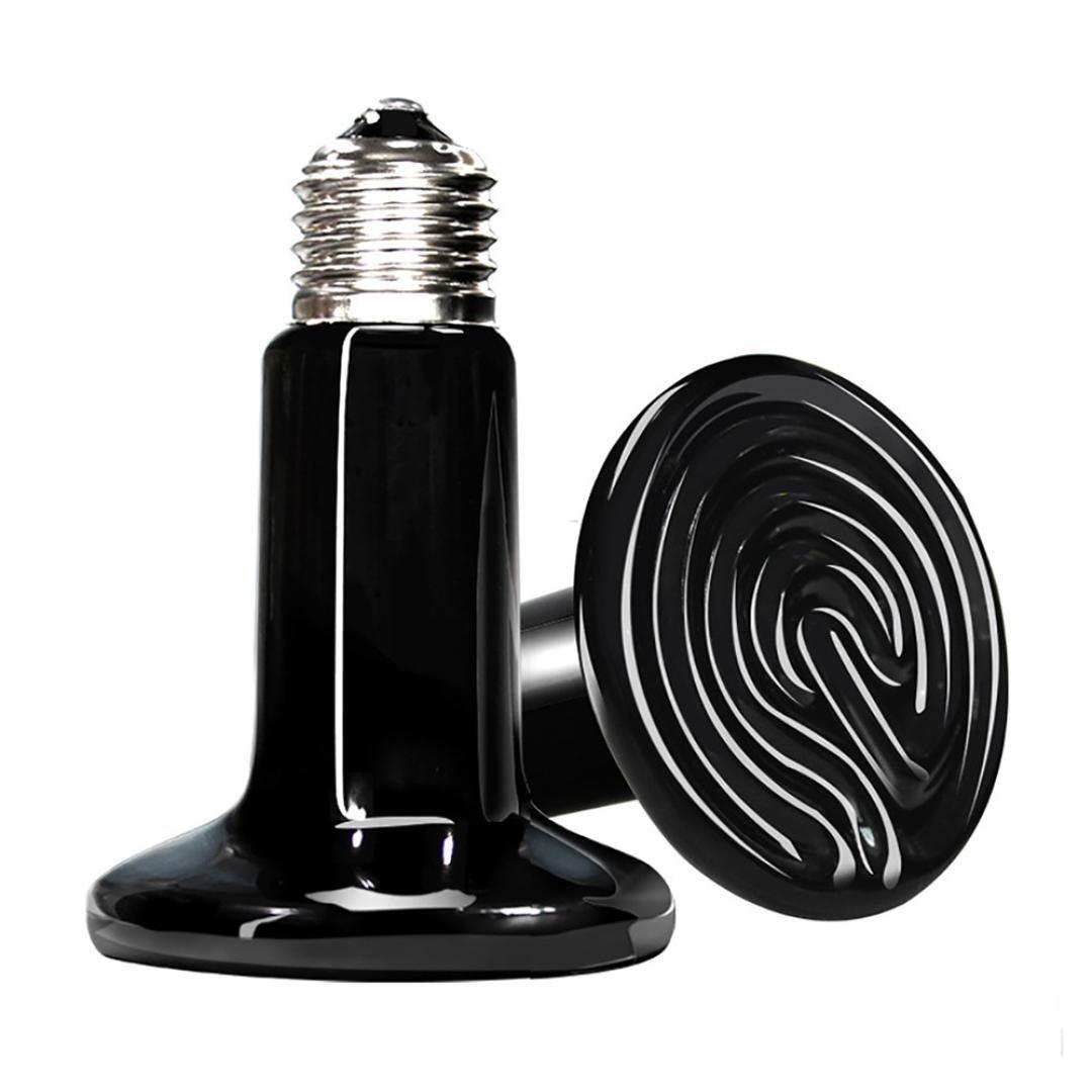 Ouneed ❤️ Reptile Heat Lamp Bulb - 25W/50W/75W/100W/150W/200W Ceramic Heat Emitter No Harm Heater Lamp for Lizard Aquarium Snake Pet Brooder (200W, Black) Ouneed