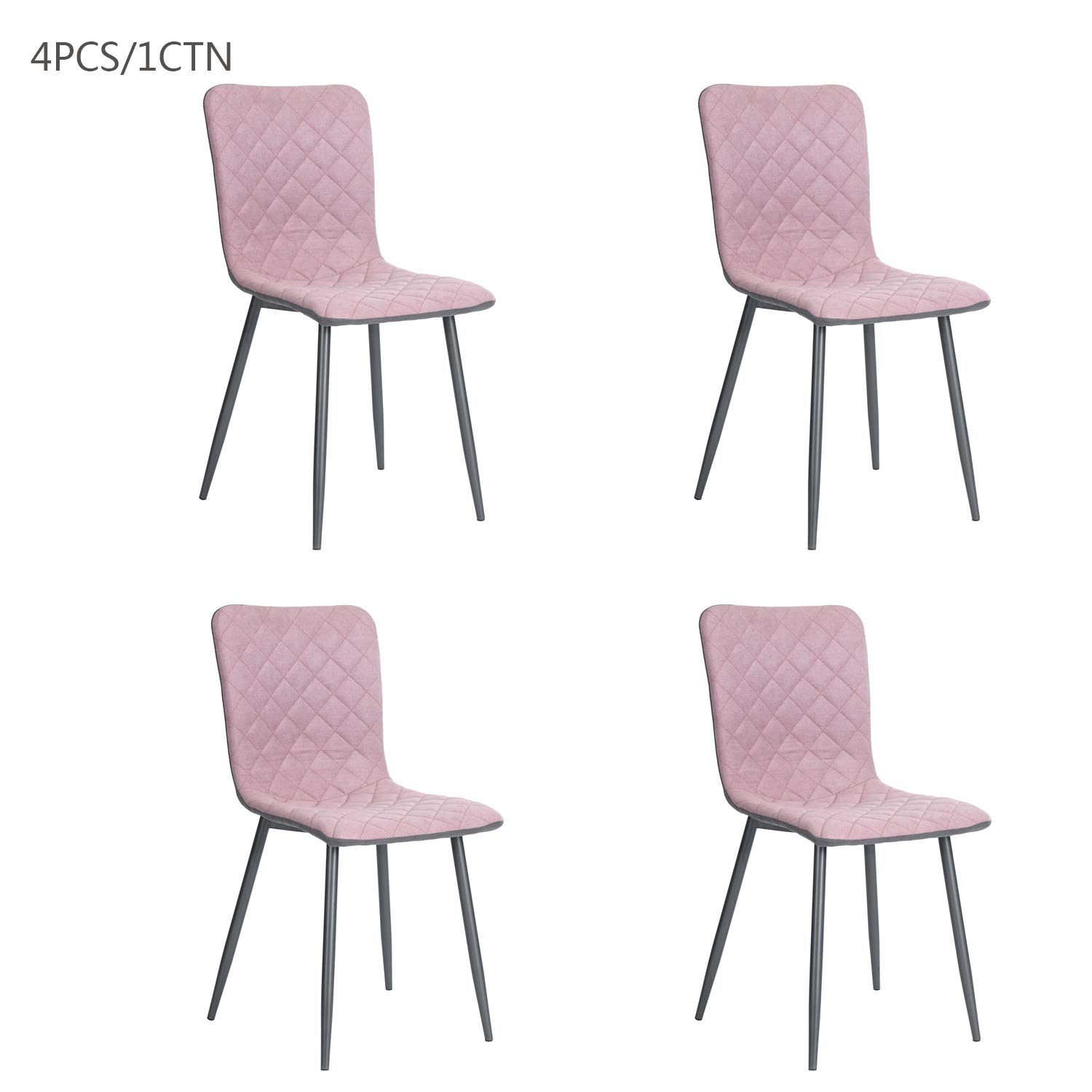 Pink Dining Chair Fanilife Wood Legs Fabric Cushion Seat Mental Wood Legs Rack Support Low-Back Soft Back for Living Room Chairs, Set of 4