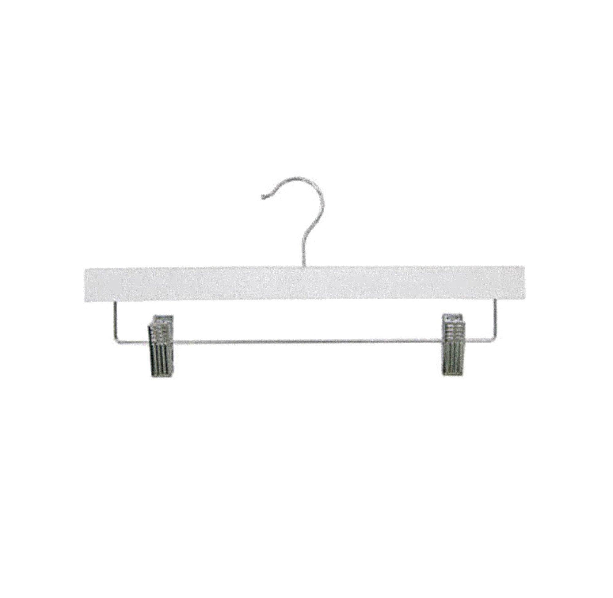 Newtech Display HWB-14/WHT Pants/Skirt Wood Hanger, White (Pack of 100)