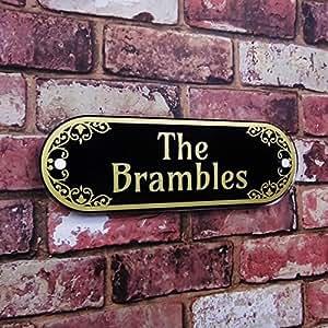 Casa placa de nombre dirección placa decorativa efecto cristal propiedad cartel pizarra gris
