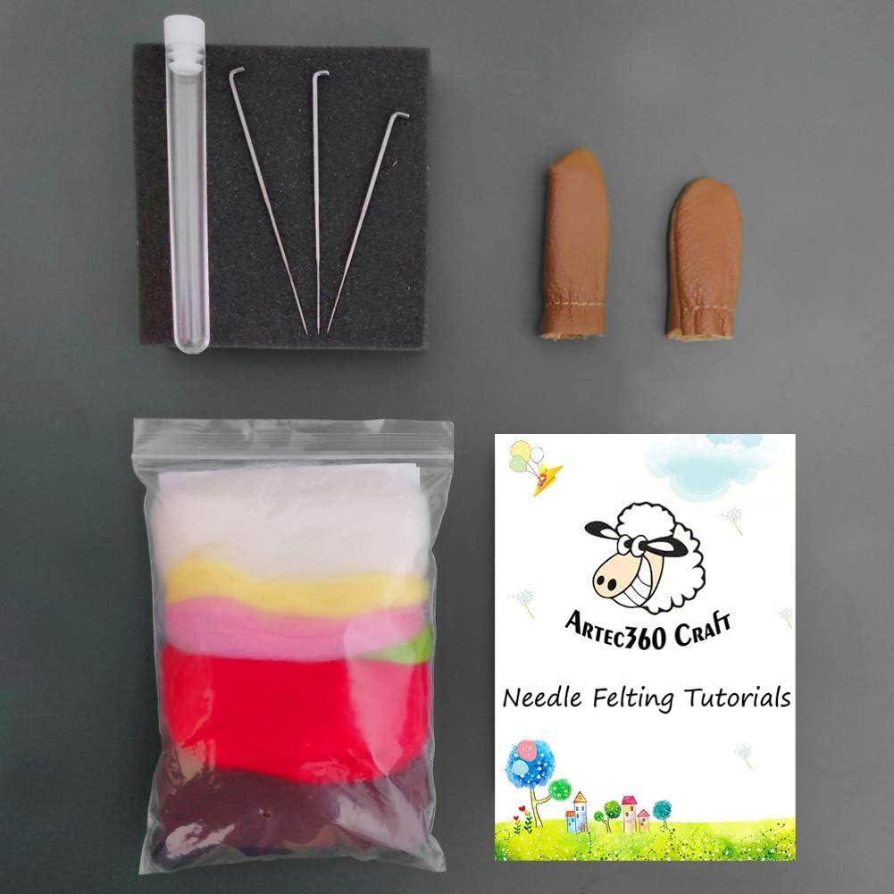 Instrucciones Base de Fieltro de Aguja de Alta Densidad Agujas Conejo en Cuerda Lana de Merino Kit de Felting Lana Fieltro 10CM Protectores de Dedos