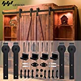 WINSOON Sliding Barn Wood Door Hardware Cabinet Closet Kit Antique Style for Double Doors Black Surface (6FT /72'' 2 Doors Track Kit)