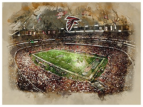 Atlanta Falcons Poster Watercolor Art Print 12x16 Wall Decor (Falcons Water Atlanta)