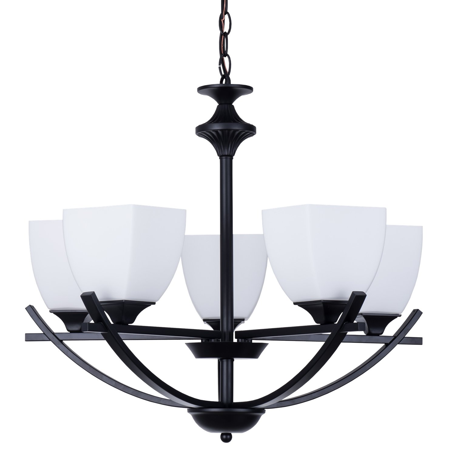 """Alice House 24"""" Chandeliers for Dining Room, Matte Black Color, 5 Light with 48"""" Chain Kitchen Light Fixtures, Modern Farmhouse Lighting AL12077-H5"""