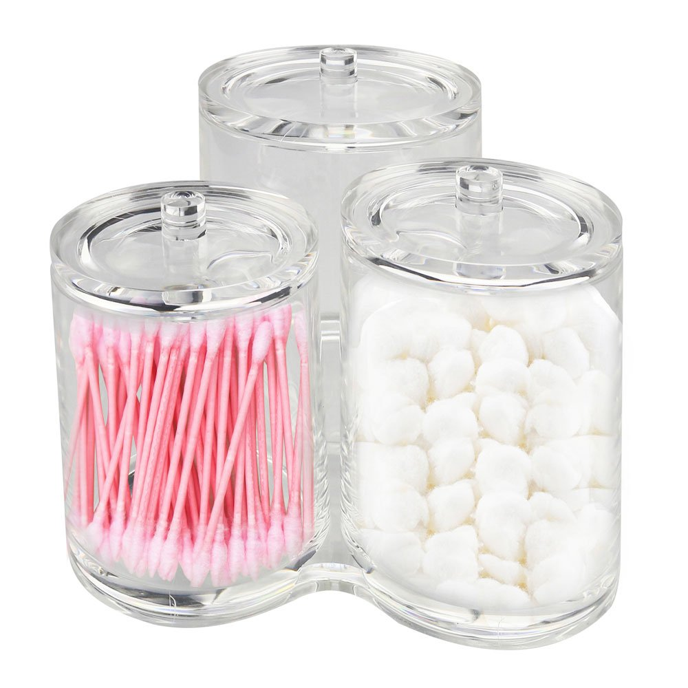 MDW AcrylicMakeup Organizer Cotton Ball & Swab Holder Storage Container Box,Clear Acrylic Cotton Ball , Cosmetics Storage Container Box Case(No cotton ball and swab) by MDW