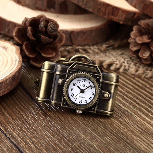 Youyoupifa Retro Camera Bronze Alloy Vintage Keychain Quartz watches (Unisex)