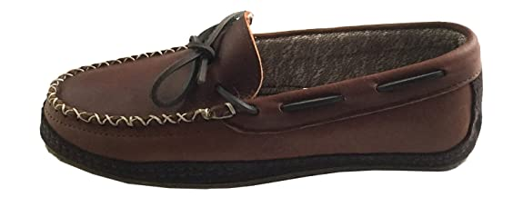 Amazon.com | Wakonsun Mens Brown Genuine Leather Fabric Lined Moccasin Shoes (14) | Shoes
