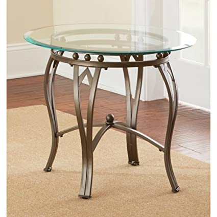 Amazoncom Greyson Living Maison Glass Top Round End Table Kitchen