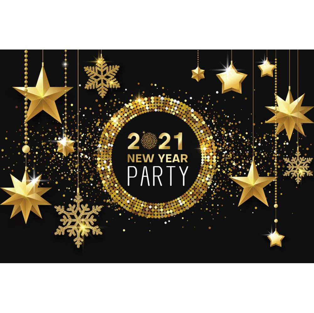 DaShan 6x4ft Polyester Sparklers Fireworks 2021 Happy New Year Backdrop 2021 New Year Eve Party Photography Background Gold Glitter New Year Winter Party Banner Christmas Festival YouTube Photo Prop