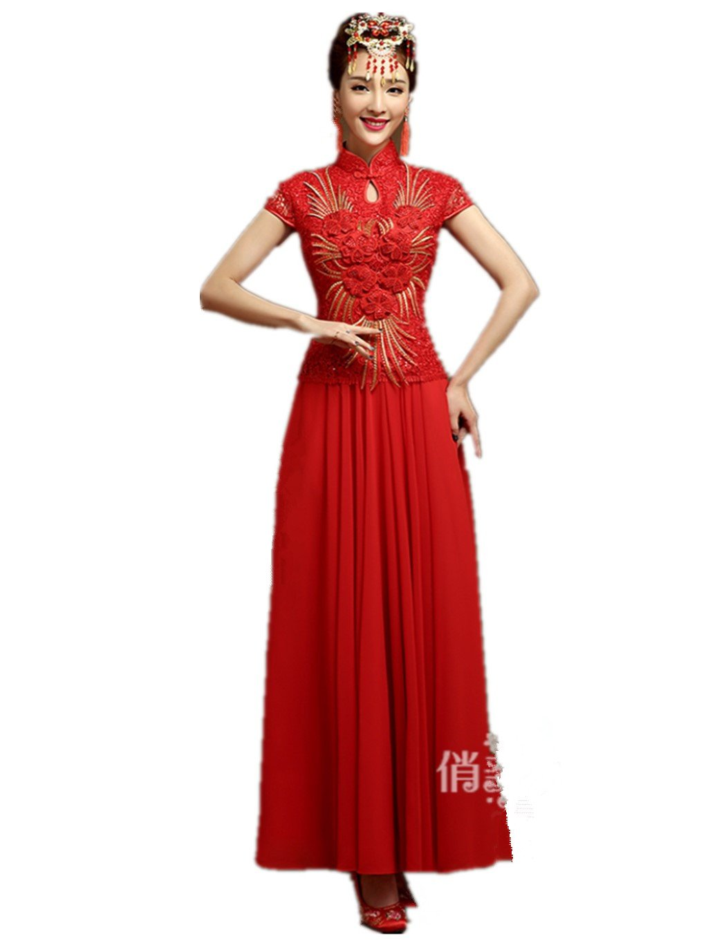 Show Wo Dress Bridal Qipao Wedding cheongsam Toast cheongsam Toast dress Slim Big swing National style