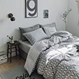 VClife Grey Bedding Sets Twin Geometric Duvet Cover Sets Kids Soft Hypoallergenic Comforter Cover Sets, Hotel Quality Reversible Bedding Collections, Lightweight, Luxury Elegant, Breathable, Twin