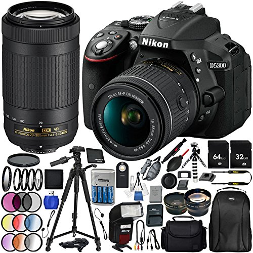 "Nikon D5300 with AF-P DX 18-55mm f/3.5-5.6G VR + Nikon AF-P DX 70-300mm f/4.5-6.3G ED VR 25PC Accessory Bundle - Includes 64GB & 32GB SD Memory Card + 72"" Tripod + Automatic Flash w/ LED Light + MORE"