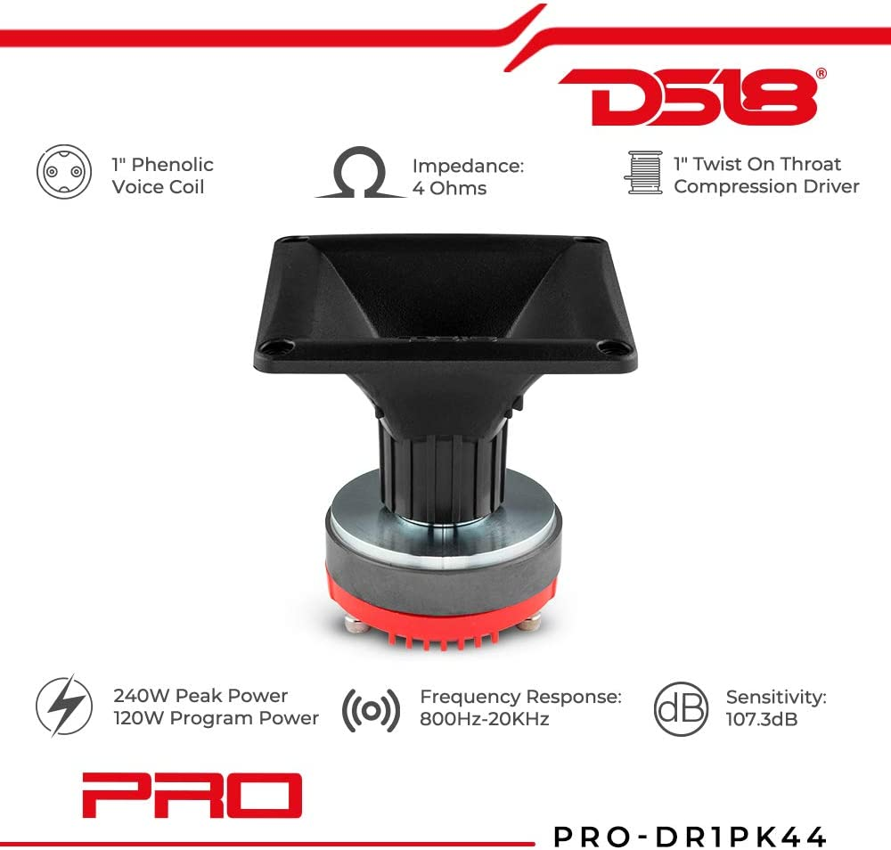 DS18 PRO-DR1PK44 1 Twist On Throat Compression Driver with 1 Phenolic Voice Coil and PRO-H44//BK Horn 240 Watts 8-ohm