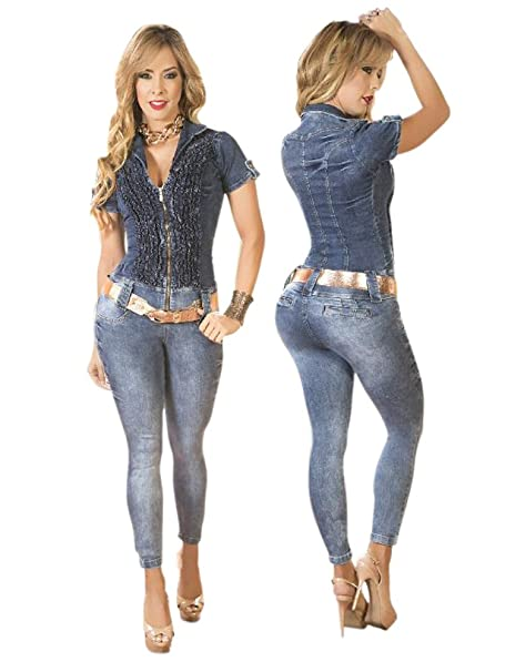 dc6199f64d8b Malibu Boutique Ebano Colombian Short Sleeved Blue Denim Butt Lifting Jumpsuit  Enterizo (7)