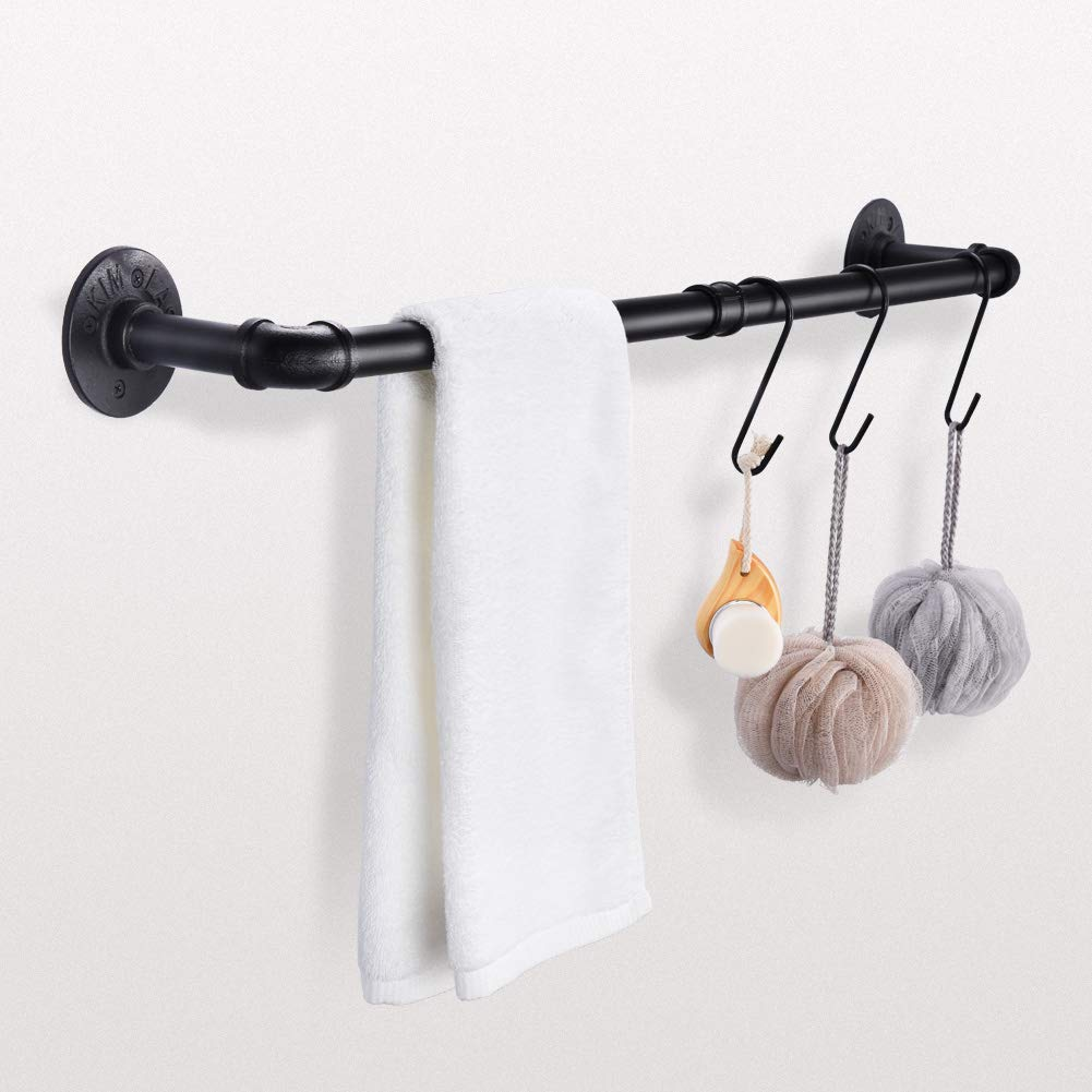 Pipe Black Towel Bar Wall Mounted Extra Long Bathroom ...