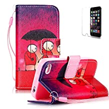 iPhone 5C Case [with Free Screen Protector], Funyye Premium Elegant Intelligent PU Leather Wallet With [Lanyard Strap] and [Credit Card Holder Slots] Embedded Flip Magnetic Closure Detachable Stand Folio Book Style Skin Shell Fashion Pattern Ultra Slim Case Cover for Apple iPhone 5C - Couple Umbrella
