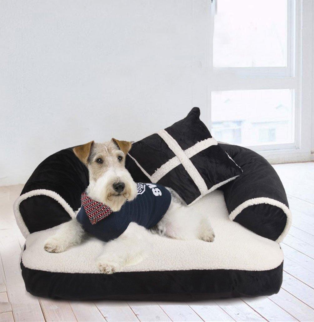 LA VIE Cama Sofá para Mascotas Lavable Extraíble con Almohada Colchoneta Cama Nido Suave Acogedor para Perros Pet Dog Bed L en Negro: Amazon.es: Productos ...