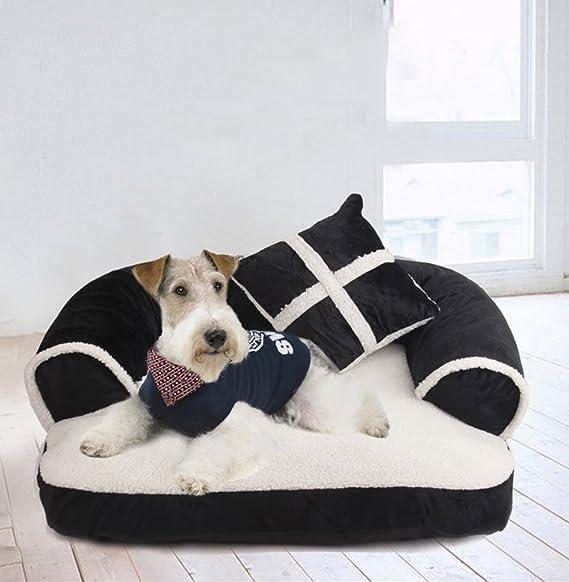 LA VIE Cama Sofá para Mascotas Lavable Extraíble con Almohada Colchoneta Cama Nido Suave Acogedor para Perros Pet Dog Bed M en Negro: Amazon.es: Productos ...