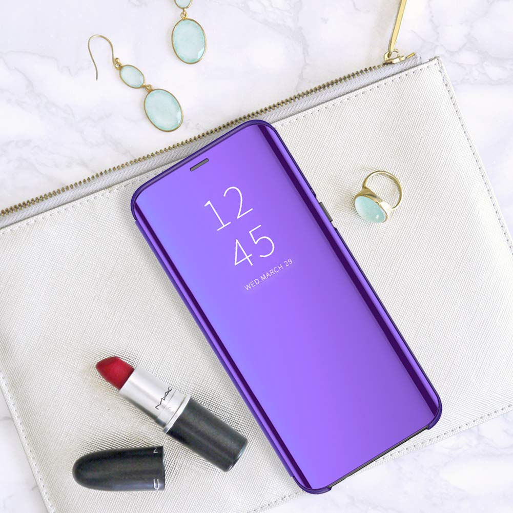 Case for Samsung Galaxy J2 Pro 2018 Clear Mirror Ultra-Thin Stand Flip View Cover Protective Bumper case